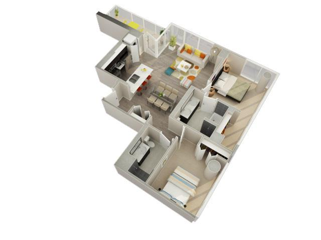 2 Bedroom 2 Bath F Floorplan at Catalyst, Chicago, IL, 60661