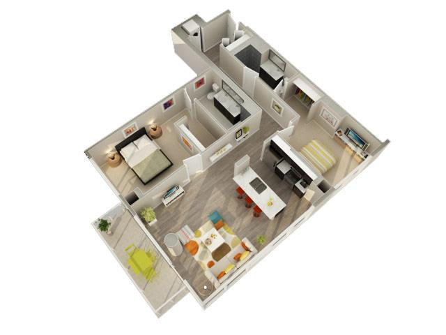 2 Bedroom 2 Bath D Floorplan at Catalyst, Chicago, IL, 60661