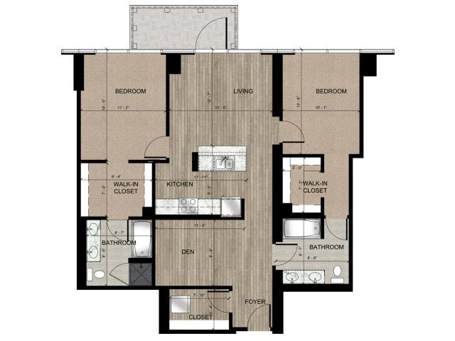 2 Bedroom 2 Bath B Floorplan at Catalyst, Chicago, IL, 60661