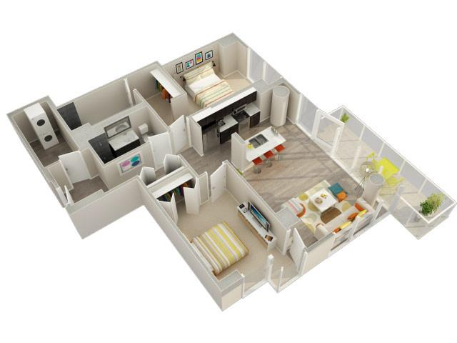 2 Bedroom 2 Bath C Floorplan at Catalyst, Chicago, IL, 60661