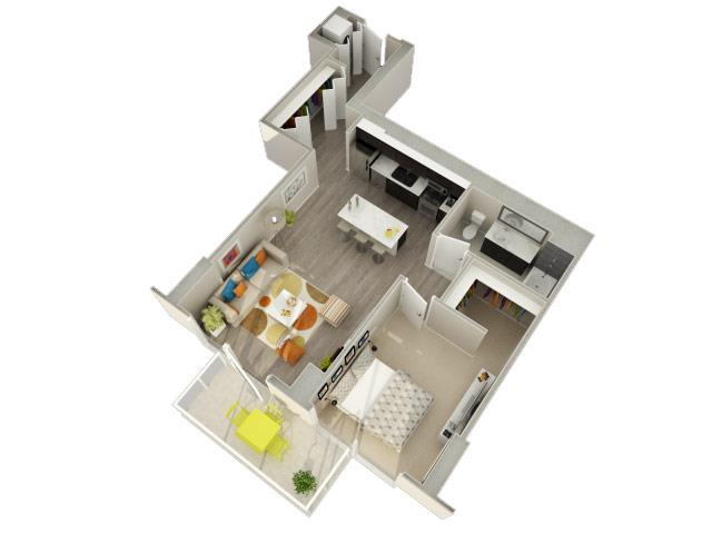 1 Bedroom 1 Bath 3D Floorplan at Catalyst