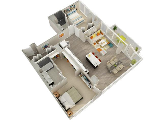 2 Bedroom 2 Bath E Floorplan at Catalyst, Chicago, IL, 60661