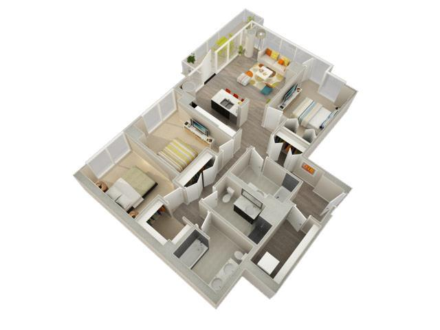 3 Bedroom 3 Bath Floorplan at Catalyst, Chicago, IL, 60661