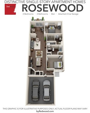 Rosewood- 2 Bed, 2 Bath, Den, 2-Car Garage