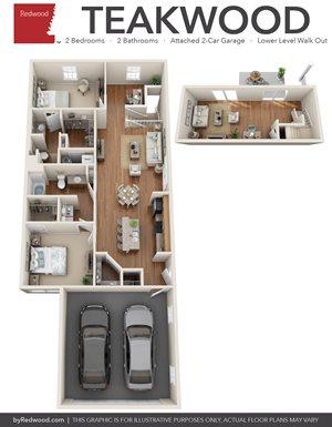 Teakwood- 2 Bed, 2 Bath, Den, Walk-Out, 2-Car Garage