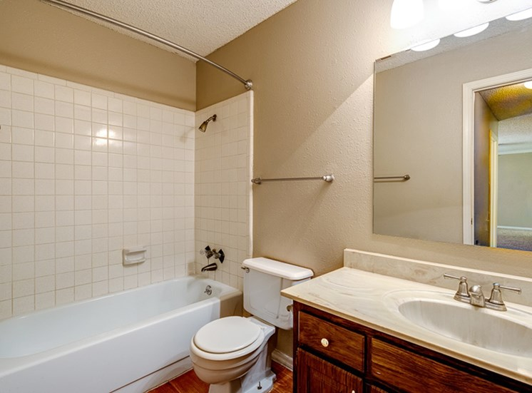Updated bathrooms at Mill Creek Apartments in Abilene, TX