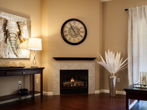 Living room and fireplace  l  l Vineyard Gate Apartments in Roseville CA