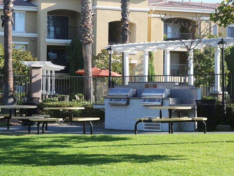 Grill Stations and Picnic area at Waterstone at Moorpark in Moorpark apts for rent