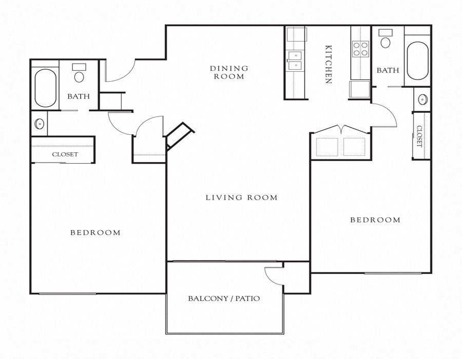 2BD, 2BTH Floor Plan 3