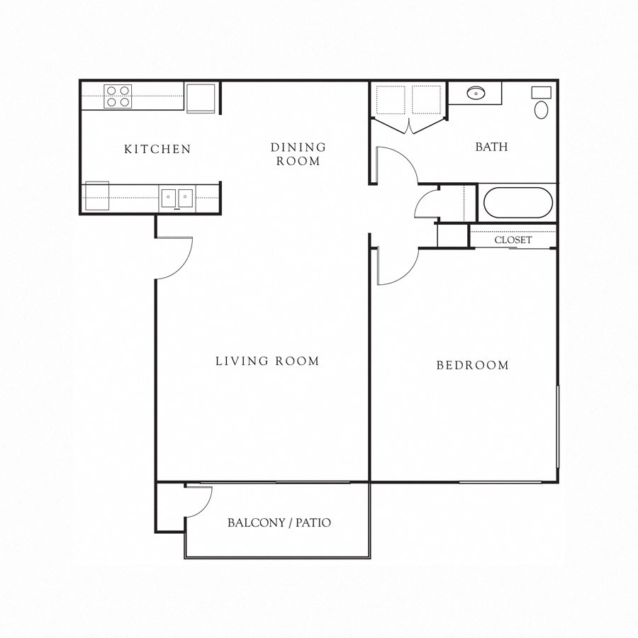 1BD, 1BTH Floor Plan 1