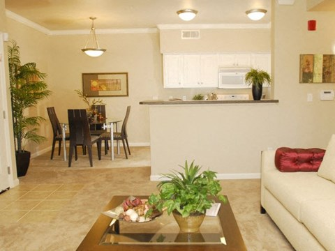 Living and Dining l The Villas at Villaggio Apartments in Modesto CA