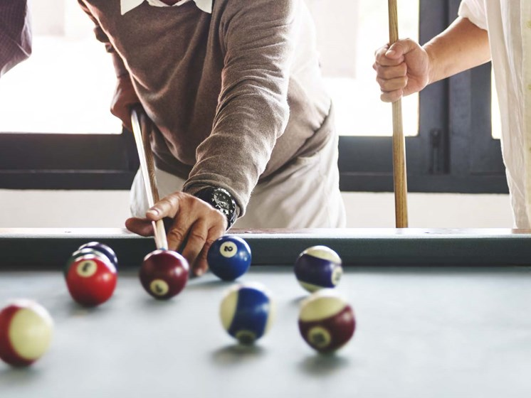 Friends playing billiards