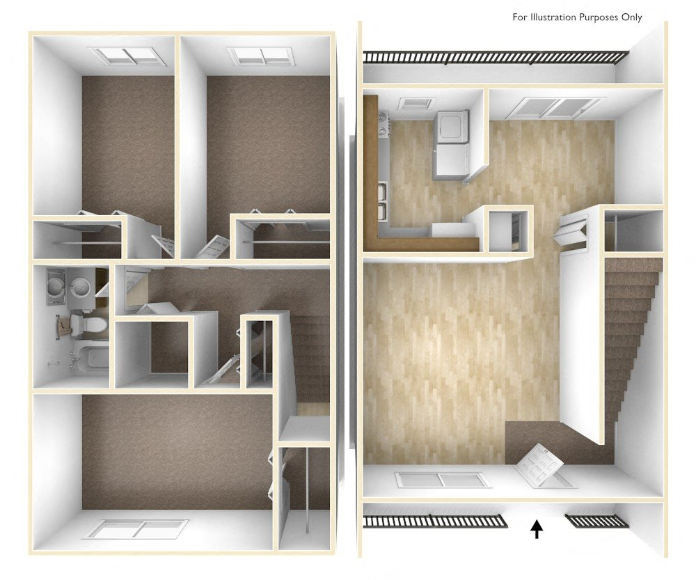 Three Bedroom Apartment Floor Plan Blue Ridge Estates