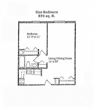 1 Bedroom - 1 Bathroom Floor Plan 2