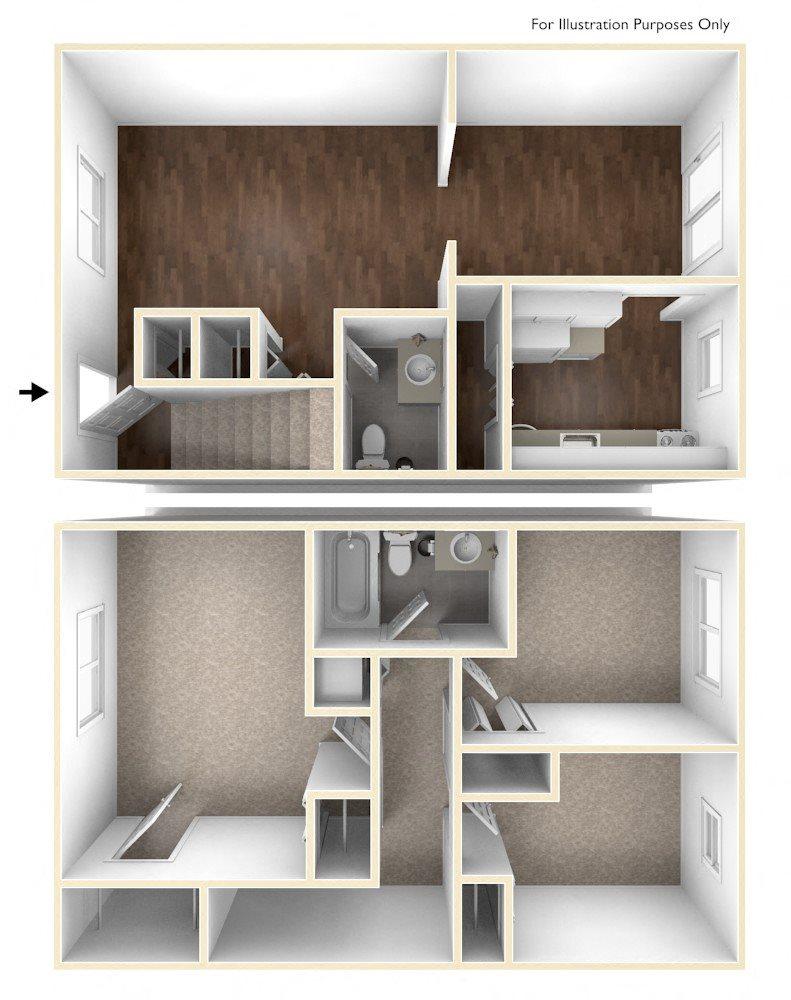 Three Bedroom Apartment Floor Plan Colonial Estates Apartments
