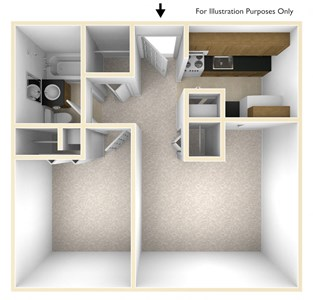 One Bedroom Floor Plan Dominion Place Apartments