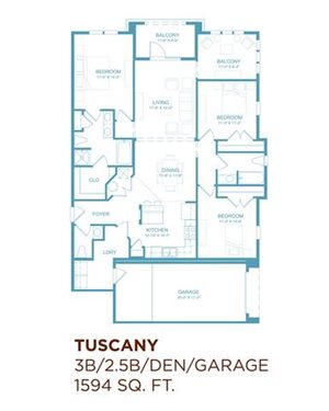 Tuscany (3 br. with Den & Attached Garage)