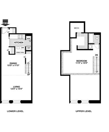 1 Bedroom 1 Bath - Loft Floor Plan 3