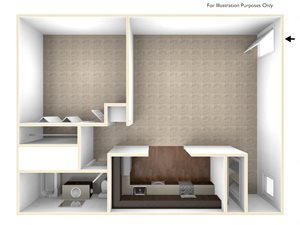 One Bedroom Floor Plan Berkshire Peak Apartments