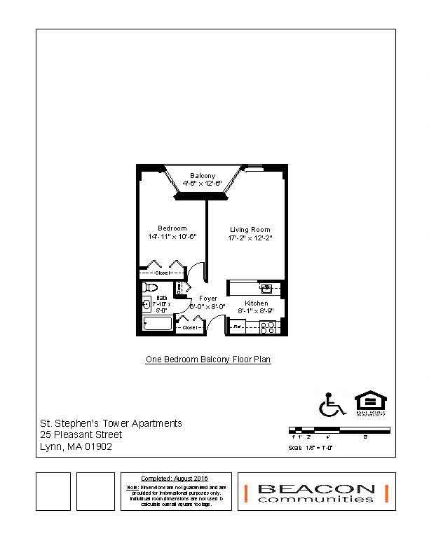 1 bed - 1 bath Floor Plan 2