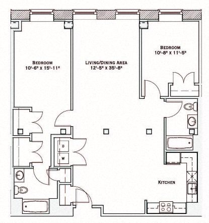 2 Bedroom Floor Plan 4