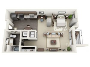 Studio Floor Plan at 1600 Vine Apartment Homes, Los Angeles, 90028