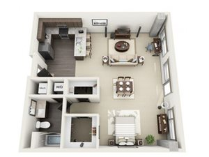 Studio Floor Plan at 1600 Vine Apartment Homes, Hollywood, CA