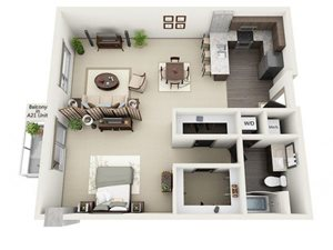 Studio Floor Plan at 1600 Vine Apartment Homes, CA, 90028