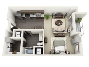 Studio Floor Plan at 1600 Vine Apartment Homes, California, 90028