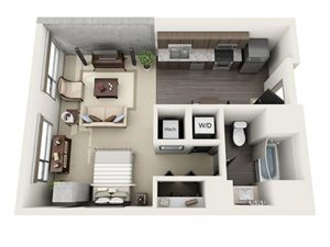 Studio Floor Plan at 1600 Vine Apartment Homes, Hollywood, California