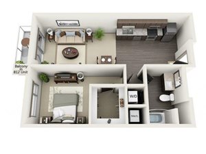 1 Bed - 1 Bath Floor Plan at 1600 Vine Apartment Homes, California, 90028