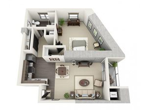1 Bed - 1 Bath Floor Plan at 1600 Vine Apartment Homes, CA, 90028