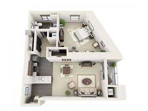 1 Bed - 1 Bath Floor Plan at 1600 Vine Apartment Homes, 1600 VINE Street, CA