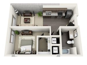 1 Bed - 1 Bath Floor Plan at 1600 Vine Apartment Homes, Hollywood, CA
