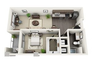 1 Bed - 1 Bath Floor Plan at 1600 Vine Apartment Homes, Los Angeles, 90028