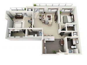2 Bed - 2 Bath Floor Plan at 1600 Vine Apartment Homes, Hollywood, California