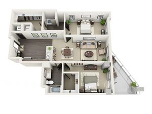 2 Bed - 2 Bath Floor Plan at 1600 Vine Apartment Homes, 1600 VINE Street, CA