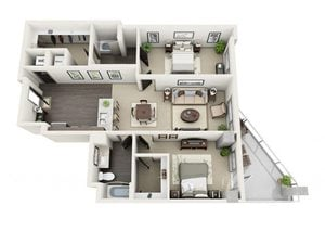 2 Bed - 2 Bath Floor Plan at 1600 Vine Apartment Homes, CA, 90028