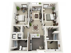 2 Bed - 2 Bath Floor Plan at 1600 Vine Apartment Homes, 1600 VINE Street, Hollywood