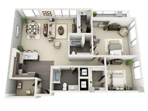 2 Bed - 2 Bath Floor Plan at 1600 Vine Apartment Homes, Hollywood, CA