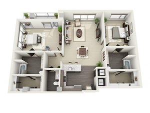 2 Bed - 2 Bath Floor Plan at 1600 Vine Apartment Homes, Los Angeles, 90028