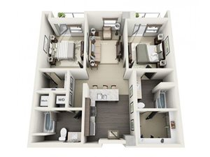 2 Bed - 2 Bath Floor Plan at 1600 Vine Apartment Homes, California, 90028