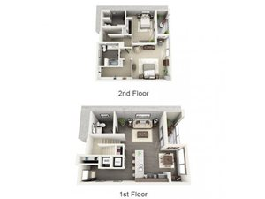 2 Bed - 2.5 Bath Floor Plan at 1600 Vine Apartment Homes, Los Angeles, 90028