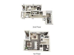 2 Bed - 2.5 Bath Floor Plan at 1600 Vine Apartment Homes, Hollywood, California