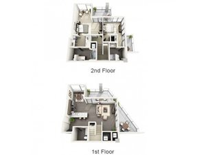 2 Bed - 2.5 Bath Floor Plan at 1600 Vine Apartment Homes, Hollywood, CA