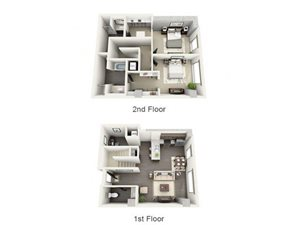 2 Bed - 2.5 Bath Floor Plan at 1600 Vine Apartment Homes, CA, 90028
