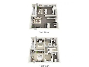 2 Bed - 2.5 Bath Floor Plan at 1600 Vine Apartment Homes, 1600 VINE Street, Hollywood