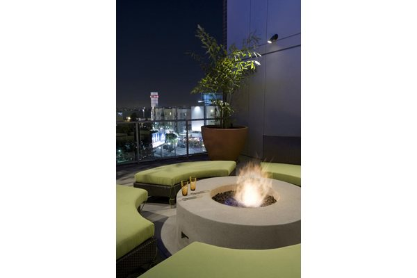 Cozy Fire Pit with Seating at 1600 Vine Apartment Homes, CA, 90028