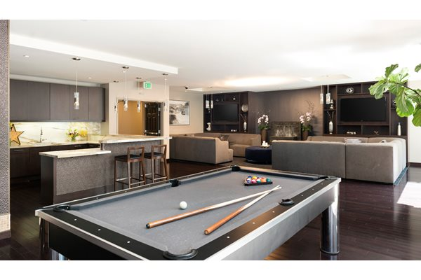 Resident Lounge with billiards, LCD TVs at 1600 Vine Apartment Homes, 1600 VINE Street, Hollywood