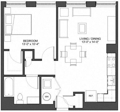 1 Bedroom W/O Study Floor Plan 2